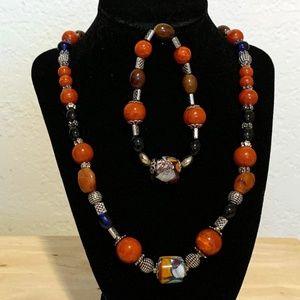 Stunning Colorful Glass Bead Necklace & Bracelet